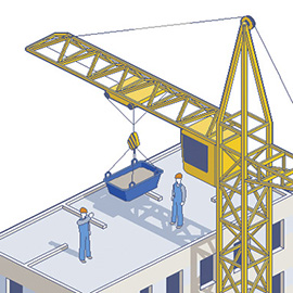 illustration of Pixel, Detailed, Isometric, Pixel Art, Digital, Graphic, Construction Site, Machinery, Building, Worker, Crane