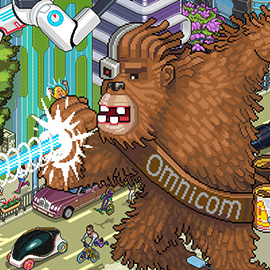 illustration of Pixel, Detailed, Isometric, Pixel Art, Digital, Graphic, Future, Technology, Editorial, Cityscape, Chewbacca, Vehicle, Panorama, Action, Omnicom, Robot,