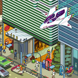 illustration of Pixel, Detailed, Isometric, Pixel Art, Digital, Graphic, Future, Technology, Editorial, Cityscape, Vehicle, Panorama, Action, Omnicom, Robot, Hover Car, People