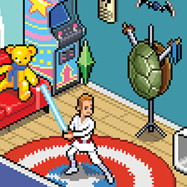illustration of Pixel, Detailed, Isometric, Pixel Art, Digital, Graphic, Future, Technology, Editorial, People, Gaming, Games, Star Wars, Captain America, Sims, Living Room, House