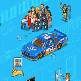 illustration of Pixel, Detailed, Isometric, Pixel Art, Digital, Graphic, Future, Technology, Editorial, People, Selfie, Celebrity, Car, Vehicle, Dog, Culture, Blueprint, Twitter, Social Media