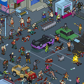 illustration of Pixel, Detailed, Isometric, Cityscape, Pixel Art, Building, Walking Dead, Zombie, Scene, Action, Digital, Graphic