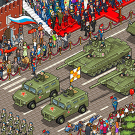 illustration of Pixel, Detailed, Isometric, Cityscape, Pixel Art, Tank, Parade, Digital, Graphic, People, Vehicle, Russia