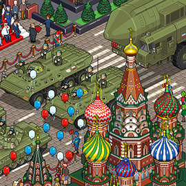 illustration of Pixel, Detailed, Isometric, Cityscape, Pixel Art, Tank, Parade, Digital, Graphic, People, Vehicle, Russia, Moscow, Red Square, Architecture, Balloon