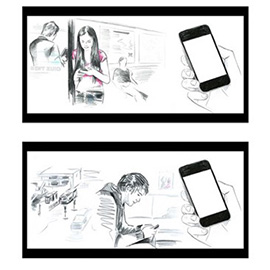 illustration of Line, Pencil, Storyboards, Watercolor, Apps/Mobile, People, Product, Transportation, Lifestyle, Branding