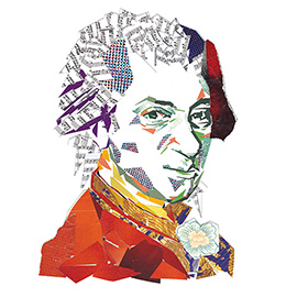 illustration of Paper portrait of Mozart for The Times Educational Supplement.