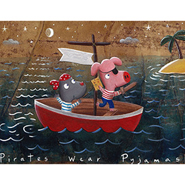 illustration of pirates boat sea bedtime children pig mole ocean moon desert island
