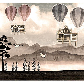 illustration of Collage, Mixed Media, Pen & Ink, Texture, Watercolor, Landscape, Nature, Posters, Travel