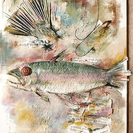 illustration of Tout, Fish,Rainbow Trout, 2 Dimensional, Textured, relief, plaster, river fishing, streams, hobbies, outdoor, Michigan, Georgia