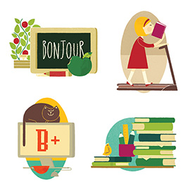 illustration of Editorial illustrations for Canadian Family Magazine to accompany an article on new approaches in Education.