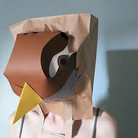 illustration of Sparrow paper construction worn as a mask. #BAGSIE is a collaborative project curated by Soapbox & Sons, art directed by Emma Taylor of Creative Advice Network and photographed by Jonathan Knowles.  In February, ten illustrators and artists were chosen to take part.  We each made a self portrait on a paper bag exposing some internal element of ourselves.  These were exhibited at Proud Archivist London and collated in a publication.