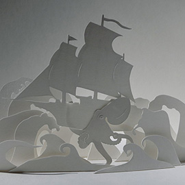 "illustration of A 3d paper illustration, made of hand cut cartridge paper, for Illustration Friday topic ""wild seas""."