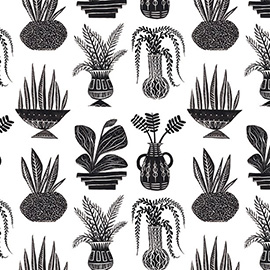 illustration of Black & White, Digital, Line, Texture, Decorative, Pattern, Botanical, Icons, Product, Surface Design
