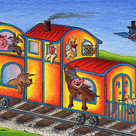 illustration of Created for children's book, Who's On the Train Today?