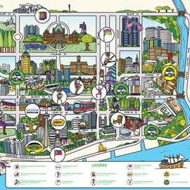 illustration of Graphic, Line, Maps, Product, Transportation, Travel, Urban