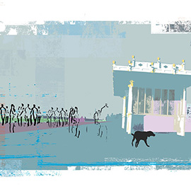 illustration of Digital, Silhouette, Monoprints, Architectural, Landscape, People