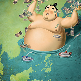 illustration of Caricature, Painterly, Editorial, Maps, People, Political, Financial