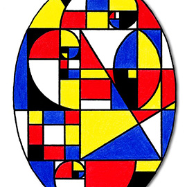 illustration of An abstract illustration of an oval using the