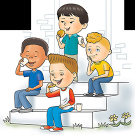 illustration of Four boys sitting on door steps drinking milk and eating cookies