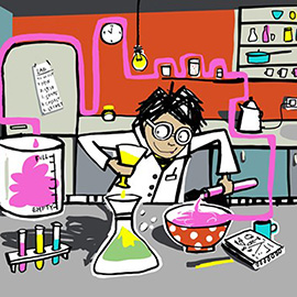 illustration of Digital, Line with Color, Stylized, Texture, Children, Science