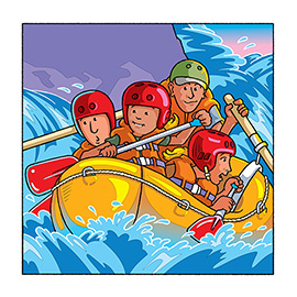 illustration of An ABC book for children. The Grand Canyon ABC book teaches children that there is exciting white water rafting in the canyon. While learning their ABC's, they will experience the amazing Grand Canyon national park that people and families from all over the world travel to, to vacation and enjoy. Young children will discover that there is a large river that runs through the Grand Canyon.