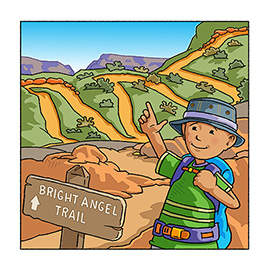 illustration of An ABC book for children. The Grand Canyon ABC book teaches children about the hiking in the canyon. While learning their ABC's, they will experience the amazing Grand Canyon national park that people and families from all over the world travel to, to vacation, backpack and enjoy. Young children will discover that you need plenty of exercise to navigate some of the backpacking and day hiking trails in the Grand Canyon.