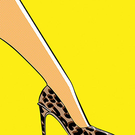 illustration of Louis, Vuitton, leopard, print, cat, tiger, Pump, woman, shoe, elegant, sexy, eyeline, bold, powerful, color, graphic, red, lichtenstein