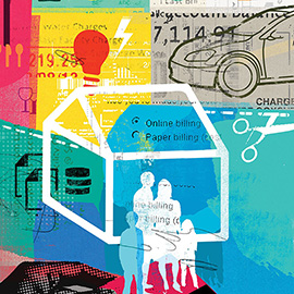 illustration of Collage, Conceptual, Digital, Graphic, Charts, Family, People, Technology, Lifestyle, Financial