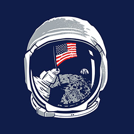 illustration of Vector illustration of the moon landing for apparel through the pop culture website The Roosevelts (www.rsvlts.com)