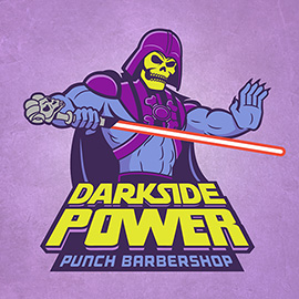 illustration of A star wars/masters of the universe mashup used for promotional purposes for a Chicago barbershop.