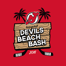 illustration of Recent logo design for the New Jersey Devils inaugural Beach Bash event in Point Pleasant Beach, NJ.