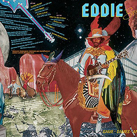 illustration of Psychedelic Gig Tour Poster Music Musician Eddie Hazel Guitar Volcano Game Dames Pharao Moon Call Telephone Photo Collage