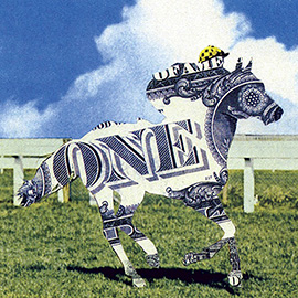 illustration of Horse back Riding Racing Number one winner dollar bill money prize collage photo conceptual