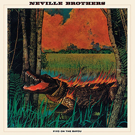illustration of Album Artwork Cover Photo Collage Crocodile Everglades On Fire Burning Hot Swamp Bayou Trees Red Danger Neville Brothers