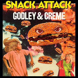 illustration of Burgers Collage Photo Retro Snacking Attack Flying Sky Monster Food Girls Scared Doom Funny