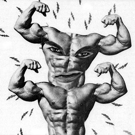 illustration of Muscle Men Beach Flexing Face Weird Funny Lightning Nipples Lips Eyes Photo Collage