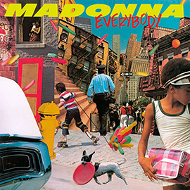 illustration of Madonna Everybody Urban Jungle Album Cover Artwork Music 80s eighties photo collage dog frisbie roller skating edgy balloons