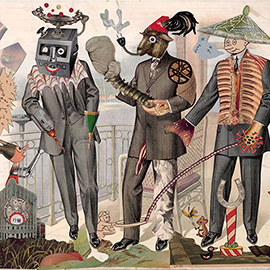 illustration of Three Strange Men Weird Funny Photo Collage Bizarre Surreal Humorous Animal Heads