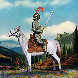 illustration of Flower Field Knight Horse Riding Metal Castle Collage Photo Sword Funny Humour