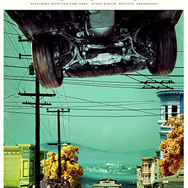 illustration of San Fran Car Chase Tram Hill View Vintage Cars Old Timer Photo Montage Collage Colourful