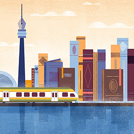 illustration of Detail Colourful Bold Strong Statement Train Rail Book Cases Spine Fountain Pen High Rise Skyline City Ride