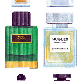 illustration of Tuxedo Yves Saint Laurent Prada Cargo de Nuit Boheme Neroli Mugler Les Exceptions Serge Lutens Cannibale Givenchy Immortelle Tribal Detail Colourful Bold Strong Statement Perfume Smell Olfactics Paris