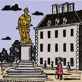 illustration of Linocut Bold Colourful Traditional Printmaking Print Edward Bawden Wood Block Soldier Sergeant Look Observe Art Sculpture Historic Building Old Tradition Caesar
