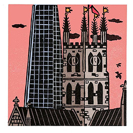illustration of Linocut Bold Colourful Traditional Printmaking Print Edward Bawden Wood Block London Visit Modern Old Historic Church Building The Shard Tadao Ando