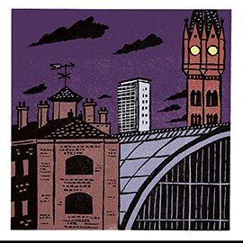 illustration of Linocut Bold Colourful Traditional Printmaking Print Edward Bawden Wood Block London City Underground Modern Traditional Old Historic Building Conservation Juxtapose