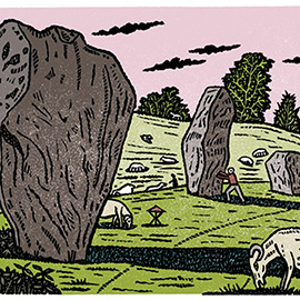 illustration of Linocut Bold Colourful Traditional Printmaking Print Edward Bawden Wood Block Stone Henge History Pre Farm Land Outdoors Capricorn