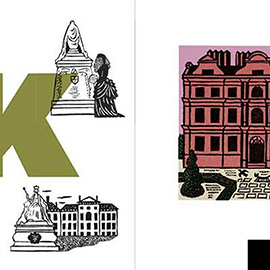 illustration of Linocut Bold Colourful Traditional Printmaking Print Edward Bawden Building Monument Alphabet Letter Typography Gansters London History