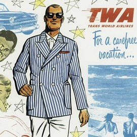 illustration of Traditional USA fifties 1950s Suit tailored man male guy walk flying plane air port plane car beach luggage couple married wife photo camera car carefree vacation