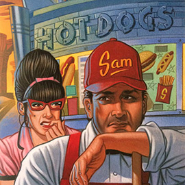 illustration of Traditional Hot Dog Burger Diner Joint 1950s fifties America USA
