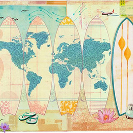 illustration of Layers Photo Montage Colourful Black and White Paint Pattern Patina VW Van Beach Sun Bathe Swim Wear Suit Bikini Flip Flops Lotus Aero Plane Flight Fly Abroad
